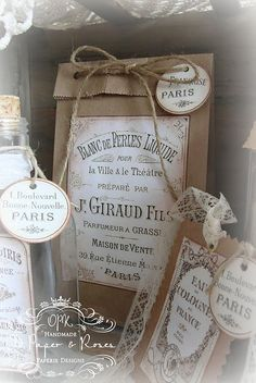 Gift Bag; I adore the elegant labels on brown paper bags!