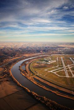 Overhead shot of Omaha's Epply Airfield.  The Missouri river divides Nebraska and Iowa.