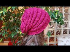 Kolay Salaş Bere Kadın-Erkek Bere /Slouch Knitted Hat - YouTube Knitting Designs, Knitting Projects, Knitting Patterns, Twiggy, Youtube Model, Knit Crochet, Crochet Hats, Knitted Beret, Moda Emo
