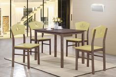 5 Piece Chocolate Wood Rectangular Kitchen Dinette Dining Table & 4 Yellow Chairs Set