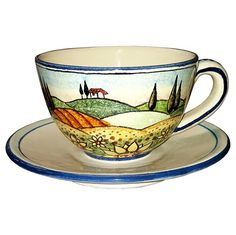 Italian Ceramic Art Coffee Cup Mug Pottery with country landscape &  sunflower s- Made in Italy - Italian ceramic cup and saucer - Kitchen