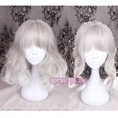 Silvery Grey Lolita Curl Wig sold by SpreePicky. Shop more products from SpreePicky on Storenvy, the home of independent small businesses all over the world. Kawaii Hairstyles, Pretty Hairstyles, Wig Hairstyles, Anime Wigs, Anime Hair, Kawaii Wigs, Pixie Bob, Lolita Hair, Buy Wigs