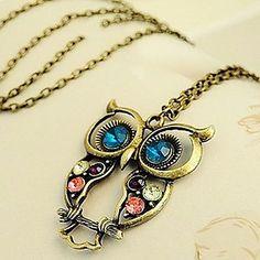 Ожерелье с подвеской в форме совы с кристаллами, состаренный винтажный стиль – RUB p. 56,57