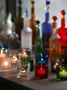 ガラスのオブジェとともにディスプレイすると、さらにステキなインテリアになります。 キャンドルの炎を灯すと、他のガラスオブジェも輝き始めて煌びやかな空間が生まれます。