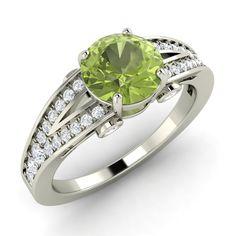 14k White Gold Natural Peridot SI Diamond Engagement Ring 1 26 Ct Sizable | eBay
