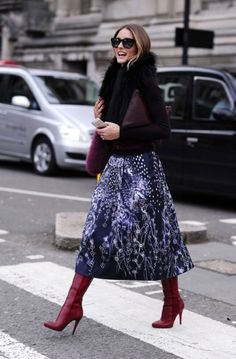 Embellished midi Skirt, knee high boots and knitwear top. {Olivia Palermo}