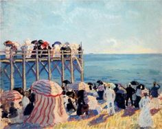 The beach and pier at Trouville, 1905 -Raoul Dufy - by style - Fauvism Raoul Dufy, Umbrella Art, Georges Braque, Fauvism, Le Havre, Dutch Painters, Post Impressionism, Coastal Art, Art Database