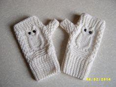 Owl fingerless gloves Owl fingeless mittens by KnitandFeltbyNat, $28.00