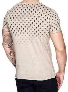 with a mock collar and a badge / crest on the left side of chest / casual muscle slim body fit fitted tee shirt Slim Body, Dye T Shirt, Nice Body, Skulls, Size Chart, Tee Shirts, Men Sweater, Beige, Casual