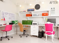 BEFORE & AFTER: COLORFUL MODERN OFFICE REDO
