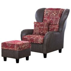 Ohrensessel mit Hocker 499,99 € <3 Hier kaufen: http://www.stylefruits.de/wohnen/sessel-maison-belfort/w5173008 #braun #rot #Sessel #Wohnzimmer
