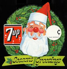 Vintage Christmas 7-Up display or sign with Santa.