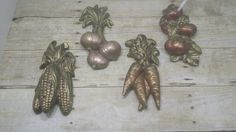 Chalk Ware Wall hangings, Metallic, vegetables, vintage, shabby chic, 1960s-1970s by RandomGoodsVintage on Etsy