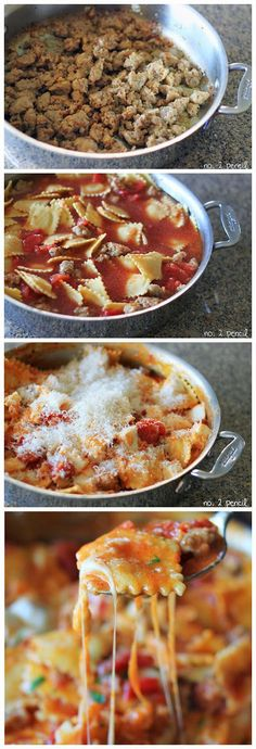 Skillet Lasagna - this is an easy one-pan meal with all the yummy flavor of homemade lasagna. You'll be able to have this on the table in by ronda Italian Recipes, Beef Recipes, Cooking Recipes, Italian Cooking, Sausage Recipes, I Love Food, Good Food, Yummy Food, Great Recipes