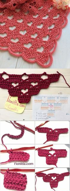 Latest Totally Free how to crochet a triangle Tips 29 Magníficos Puntos Calados en Crochet Crochet Edging Patterns, Crochet Motifs, Crochet Shawl, Crochet Doilies, Crochet Stitches, Knitting Patterns, Knit Crochet, Baby Patterns, Crochet Heart Blanket
