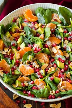 This salad is beautiful and tastes amazing - Mandarin Pomegranate and Spinach Salad