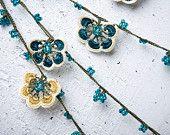 "turkish lace - needle lace - crochet - oya necklace - 133.07"" - FAST worldwide shipment with UPS - mekiye-006"