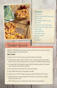 Homestyle recipes to reimagine leftovers.  Breakfast Casserole