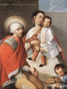 1763 Caste Painting Series by Miguel Cabrera (c 1695-1768) De Español y Torna atrás; Tente en el aire.