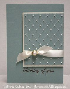 handmade card from Aspiring to Creativity ...monochromatic aqua ... off-the-side main panel with hand scored diamonds topped with dots of Liquid Pearls ... tres chic ...