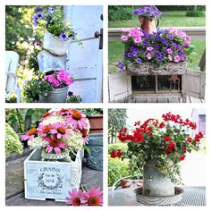 Using old collectible items as flower containers.  https://sphotos-b.xx.fbcdn.net/hphotos-ash3/564797_547410948609799_1907405754_n.png