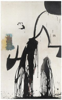 """ Joan Miró (Spanish, Sans titre, Oil, industrial paint and woollen yarn on hardboard peg board, 197 x 122 cm. Joan Miro Paintings, Spanish Painters, Cinemagraph, Art Drawings, Moose Art, Art Pieces, Industrial, Board, Cosmetics"