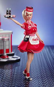 Another example of Coca Cola brand going beyond the drink. They start advertising young with baby bottles and now this precious Barbie doll.