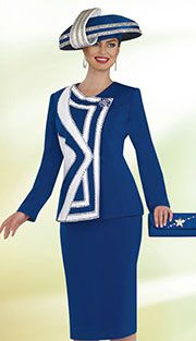 Style : CS4803 Colors : Royal Blue With White, Black With White ( 2pc Peachskin Champagne Italy Womens Church Suit )