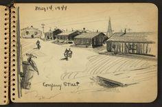 Company Street, Camp Jackson, Columbia,Carolina by Victor Alfred Lundy, May, 1944