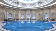 Indoor Swimming Pool with Arabian Architecture - Ritz-Carlton, Riyadh Indoor Swimming Pools, Swimming Pool Designs, Riyadh Saudi Arabia, Riad, Cool Pools, Hotels And Resorts, Luxury Hotels, Luxury Cars, Architecture