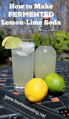 HOW TO MAKE FERMENTED LEMON LIME SODA == 6 – 7 cups filtered water 1 cup organic sugar – cup fresh squeezed lemon juice – cup fresh squeezed lime juice cup ginger bug (whey, water kefir or tsp champagne yeast can be used too) ================== Lemon Lime Soda Recipe, Ginger Bug, Fermentation Recipes, Cocktails, Lemon Drink, Weight Loss Drinks, Kimchi, Hot Sauce Bottles, Healthy Drinks