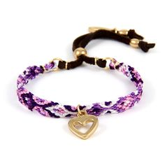 Ettika :: Bracelets :: Friendship :: Be My Friendship Bracelet Multi Purple with gold Heart Charm