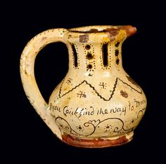 Rare and Fine Small-Sized Glazed Stoneware Puzzle Jug, English origin, Dated 1810, with highly ovoid body and rounded rim with pouring spout, the tall collar with pierced rectangles and circles, the body decorated with yellow slip and flecks of copper..