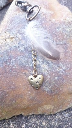 Bronze heart and feather charm for handbag, zipper pull. Unusual gift. by AndiyaCrafts on Etsy