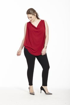 Cowlneck Sleeveless Top In Sundried Tomato by @modamixfashion   Available in sizes 0X-3X