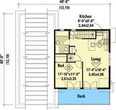 Charming RV Carriage House Plan with Deck Overlooking the Front - floor plan - Floor Garage Apartment Floor Plans, Garage Floor Plans, Cottage Floor Plans, Pole Barn House Plans, Garage Apartments, Craftsman House Plans, Modern House Plans, Small House Plans, House Floor Plans