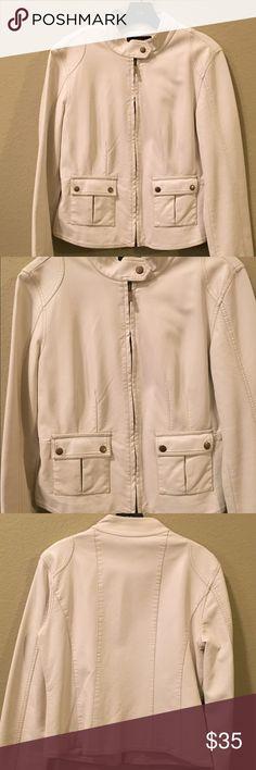 Bagatelle by Ann Taylor Faux Leather Jacket White Faux Leather Jacket Fully Lined Ann Taylor Jackets & Coats