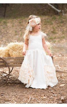16f490bb7de Scoop Neck Lace Cap Sleeve A-line Jersey Long Flower Girl Dress With  Ruffles