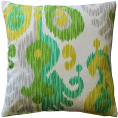 The Ikat Journey Outdoor Throw Pillow combines fresh greens, yellow and gray in a contemporary ikat design.