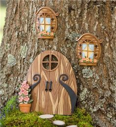 Miniature Fairy Garden Windows and Double Door Tree Accents by Plow & Hearth - So whimsical!