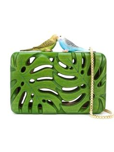 Wood laser cut palm leaves clutch, with birds clasp and gold chain strap.