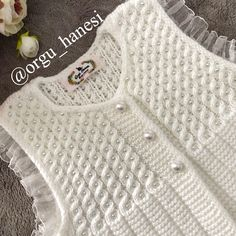 Discover thousands of images about Nursel Akova ( Baby Sweater Knitting Pattern, Knit Vest Pattern, Lace Knitting, Baby Knitting Patterns, Crochet Girls, Crochet Woman, Crochet Baby, Baby Vest, Knitting For Kids