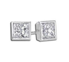 ZIVA Jewelry 2 Carat Princess Cut Diamond Earrings in Bezel Setting - http://www.gucciwealth.com/ziva-jewelry-2-carat-princess-cut-diamond-earrings-in-bezel-setting/