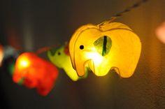 20 x à la main éléphant zoo animale végétale lanterne chaîne légère kid chambre affichage lumineux guirlande en papier coloré