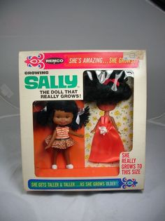 RARE Vintage 1968 Remco BLACK AFRICAN AMERICAN Growing Sally Doll - NEW MINT