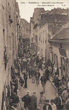 The flea market on the Ile de la Citie, Paris, before Haussmann redid the city in Old Pictures, Old Photos, Vintage Photos, Beautiful Paris, I Love Paris, Belle Epoque, Saint Médard, Paris 1900, Old Photography