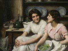 "Thomas Benjamin Kennington (Thomas Benjamin Kennington) (1856-1916) Chatterboxes Oil on canvas  109 x 83 cm (3' 6.91"" x 32.68"")"