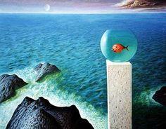 Freedom in the Aquarium - Sabin Balasa Style: Surrealism Genre: symbolic painting Blue Space, Surrealism Painting, Art Database, Sports Pictures, Surreal Art, Optical Illusions, Art History, Aquarium, Freedom