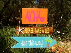 Luau Decoration, Luau Directional Signs, Party Signs, Yard Stake, Custom Colors Available on Etsy, $72.63 CAD
