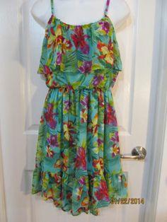 Beautiful BONGO High Low Hem Sun Dress, Wonderful Colors sz small, Adjust straps
